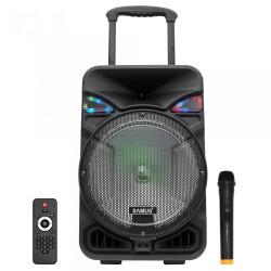 Boxa portabila activa Samus Studio 12, 50 W, Bluetooth, USB, micro SD card slot, Aux in, radio FM, afisaj LED, lumina pe difuzor, negru, microfon, telecomanda, troler inclus