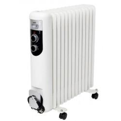Radiator cu ulei, 13 elementi, 2500 W, termostat mecanic, protectie la supraincalzire, 3 trepte de incalzire