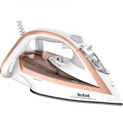 Fier de calcat Tefal Turbo Anti-Calc FV5697E1, 3000W, jet abur 270 g/min, abur variabil 0-50 g/min, colector anticalcar, oprire automata, alb/roz