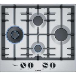 Plita incorporabila Bosch PCP6A5B90, Gaz, 4 arzatoare, Aprindere electrica, Gratare fonta, 60 cm, Inox