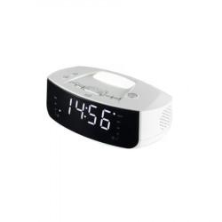 Radio cu Ceas desteptator Home , Afisaj digital, Ecran LED de 1,2 inch , Radio FM , Alimentare telefon prin Interfata USB, Lumina directoare , Alb