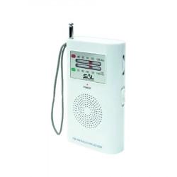 Radio portabil de buzunar, vertical, AM/FM, mufa casti, alb, Sal